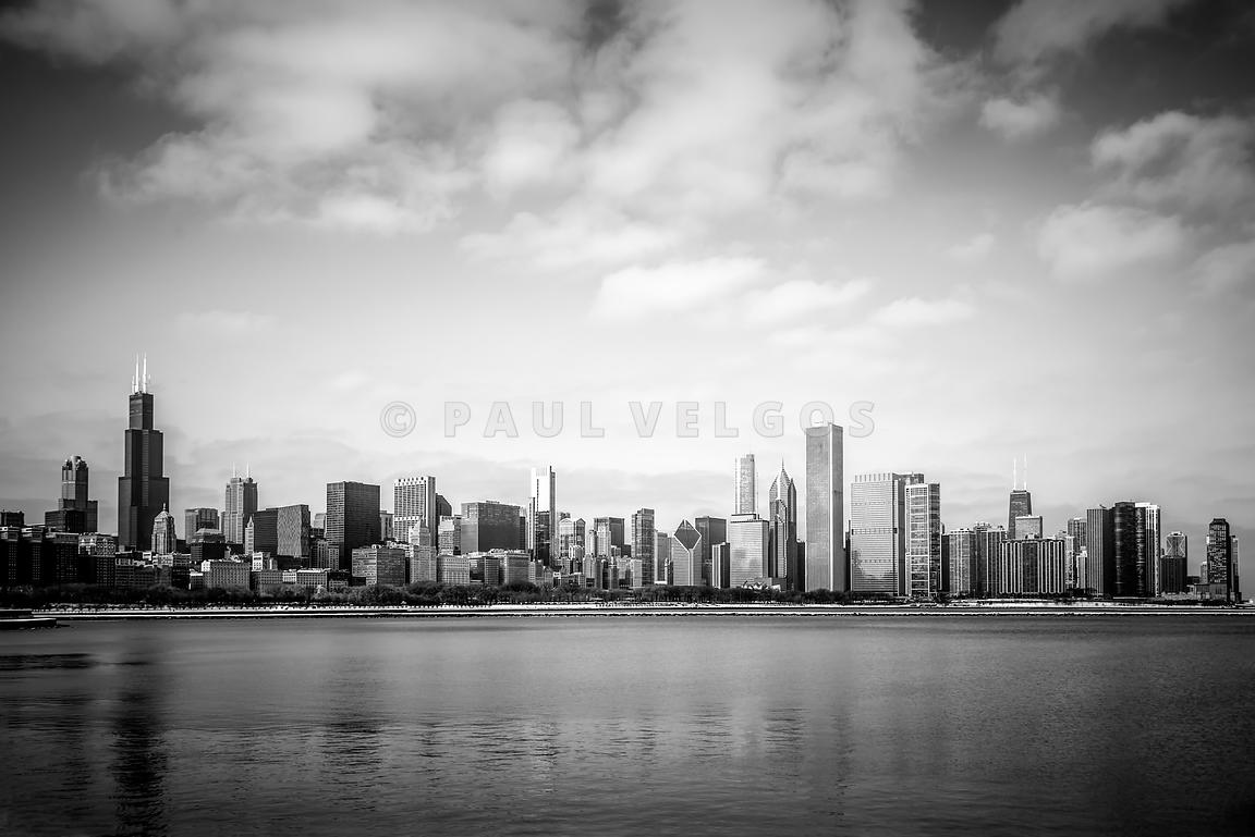 Chicago Skyline Lakefront Black and White Photo