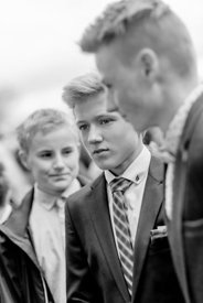 Young Nordic boy in suit and bluish tie 4 (black/white picture)