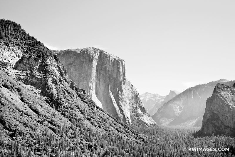 TUNNEL VIEW YOSEMITE NATIONAL PARK CALIFORNIA BLACK AND WHITE LANDSCAPE