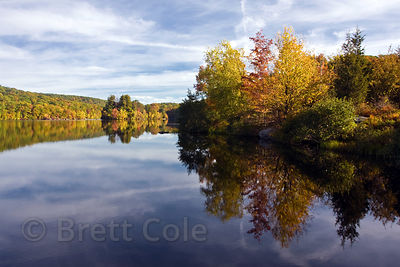 Autumn reflections in a lake on a farm in Glynwood, Hudson, New York