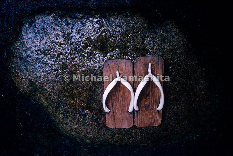 A pair of wooden geta, slippers, at the verable Tawaraya Inn, which has been operating for more than three centuries.