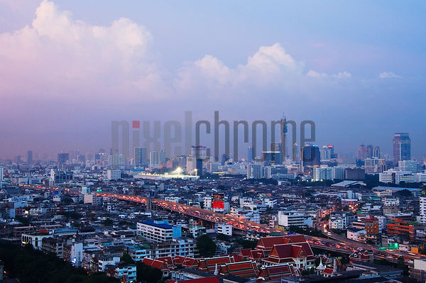 Bangkok Skyline at Dusk, Thailand