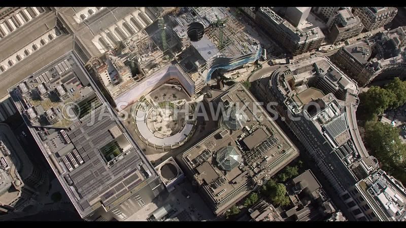 Aerial footage of Broadgate Circus, City of London, London.