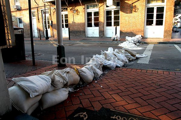 Sandbags in French Quarter during Hurricane Katrina flooding