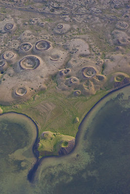 Aerial view of pseudocraters, Lake Myvatn, Northern Iceland, July.
