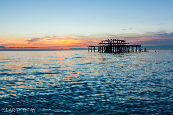 West Pier at sunset in Brighton, East Sussex, UK