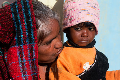 A boy and his grandmother, Pushkar, Rajasthan, India