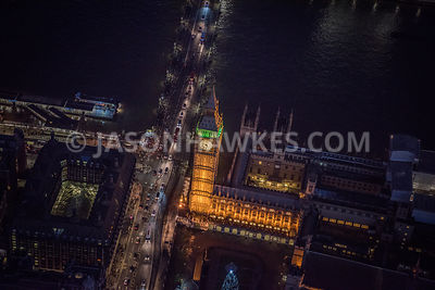 Night aerial view of Palace of Westminster, Houses of Parliament, London .