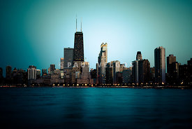 Chicago Skyline at Night Time