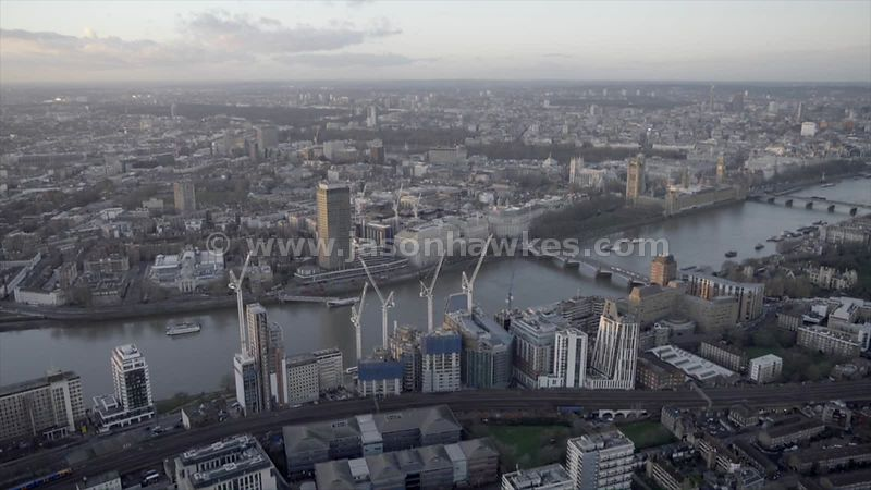 Aerial footage of the River Thames between Westminster and Vauxhall, Lambeth