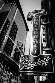 Chicago Berghoff Restaurant Sign in Black and White