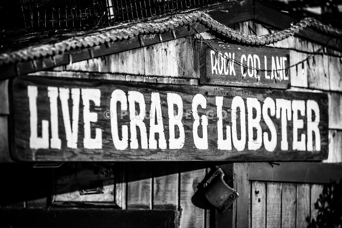 Live Crab and Lobster Sign on Dory Fish Market