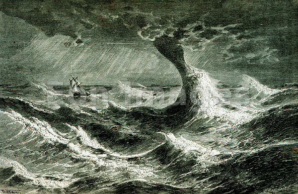 Waterspout at sea, 1873