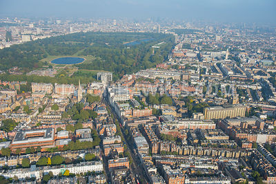 Aerial view of Kensington, London. Kensington High Street, Kensington Gardens, Hyde Park, Kensington Square (London) Kensingt...