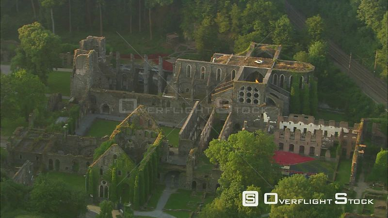 Orbiting ruins of Villers Abbey in VillerslaVille, Belgium zoomout to landscape