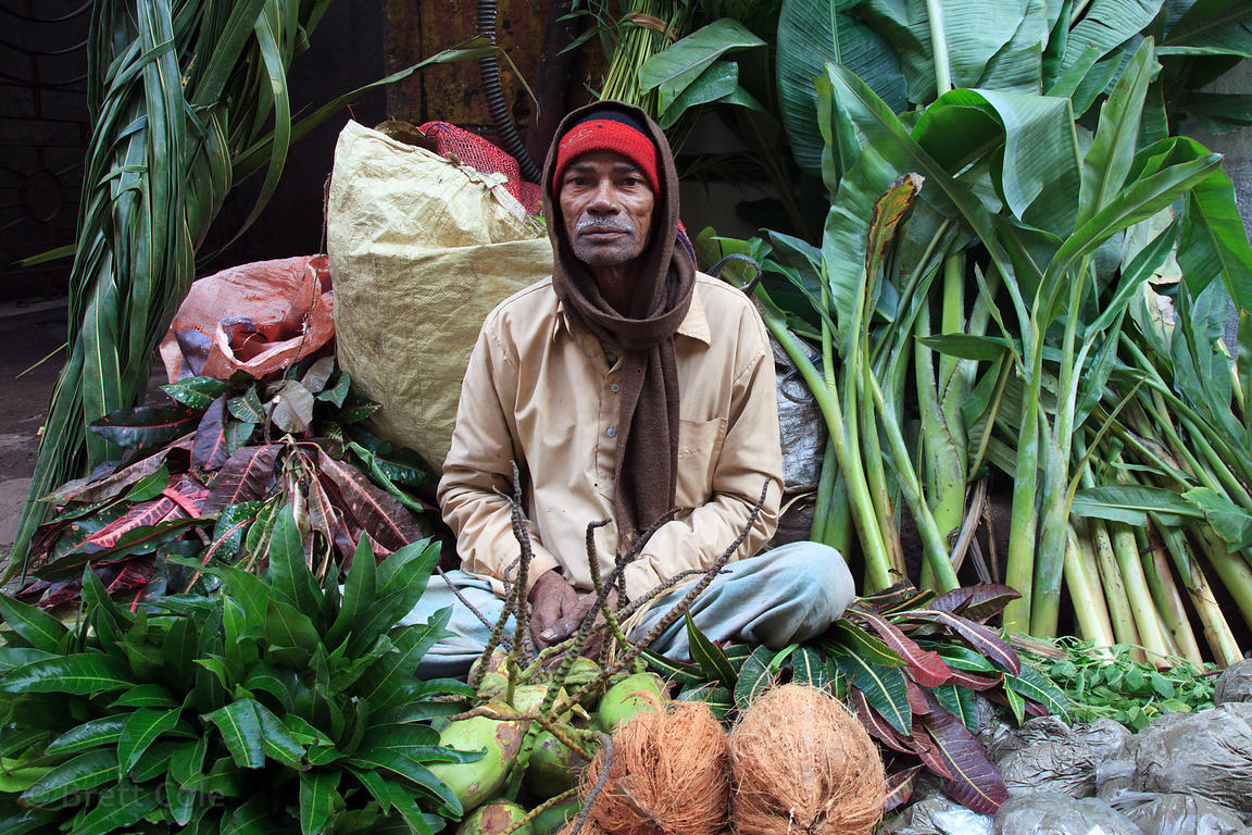 A man sells banana leaves and coconuts, both important components in HIndu religious rituals, at a stall in Shyambazar, Kolka...