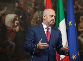 Italian and Albanian summit with prime ministers Enrico Letta and Edi Rama at Palazzo Chigi, Rome, Italy. 12/12/13