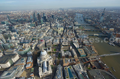 Aerial view over St Pauls and City of London.