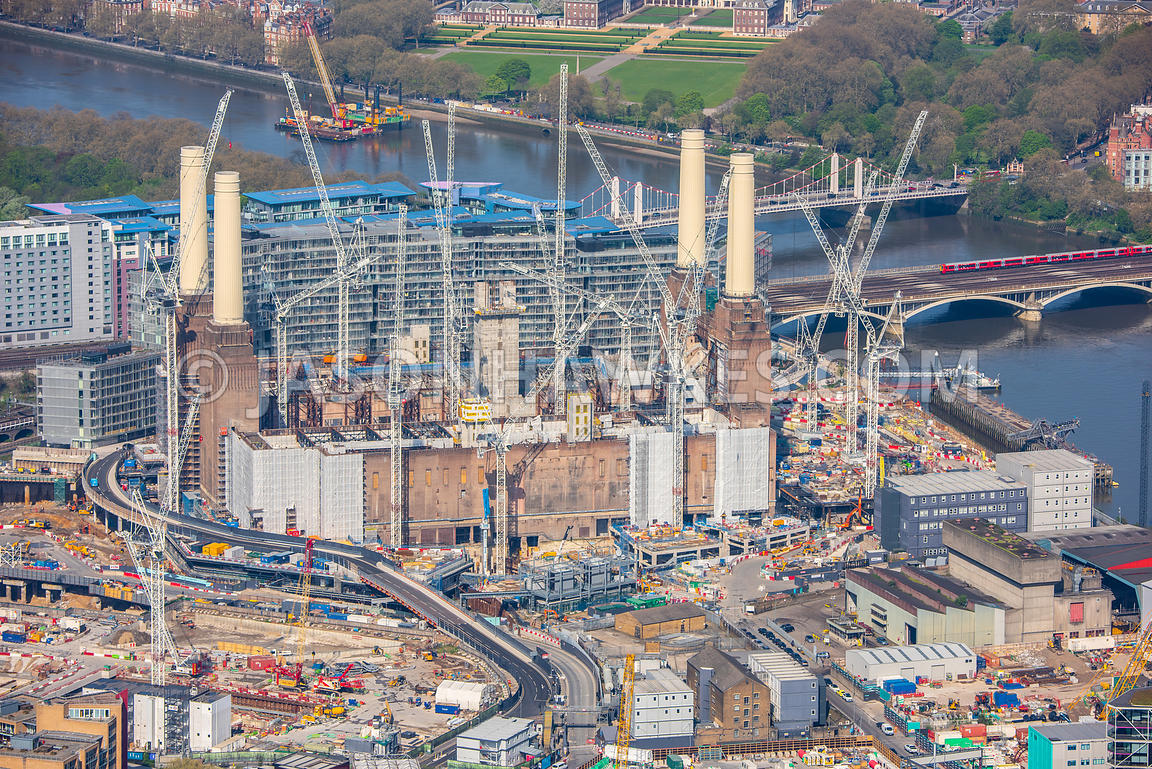 Aerial view of construction of Battersea Power Station, Battersea, London.