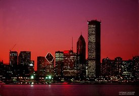 Chicago skyline with red sky