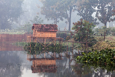 A fishing hut is reflected in the waters of the East Kolkata Wetlands, Kolkata, India.