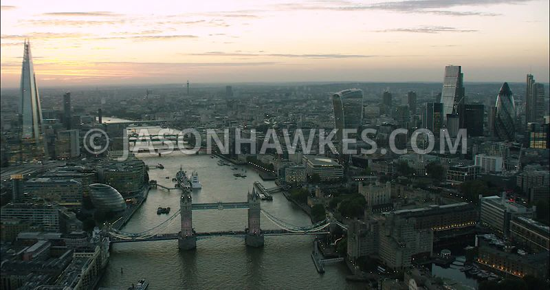London Aerial Footage of Tower Bridge, St Katharine Docks and Tower of London.