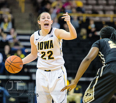 Iowa's Samantha Logic (22) calls an offensive play versus Purdue during the first half of play at Carver-Hawkeye Arena in Iow...