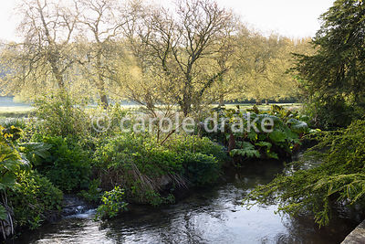 View from the boat terrace over a tributary of the River Avon to water meadows beyond on a frosty April morning at Heale House, Middle Woodford, Wiltshire