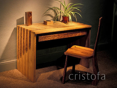 oak and burr elm desk with simple elm chair