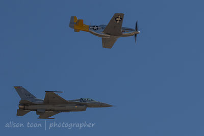 Heritage flight: United States Air Force F-16 Viper and P-51 Mustang