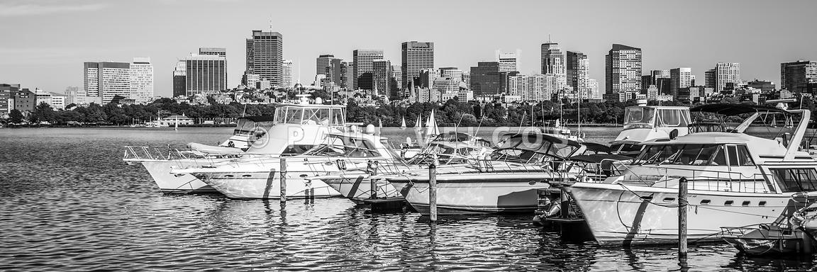 Boston Skyline Black and White Panoramic Photo