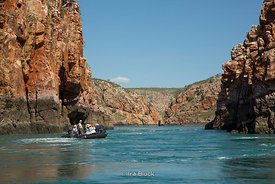 A zodiac at the Horizontal Waterfall in Talbot bay in Australia's Kimberley.