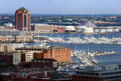 Aerial view of the Inner Harbor, Baltimore, Maryland