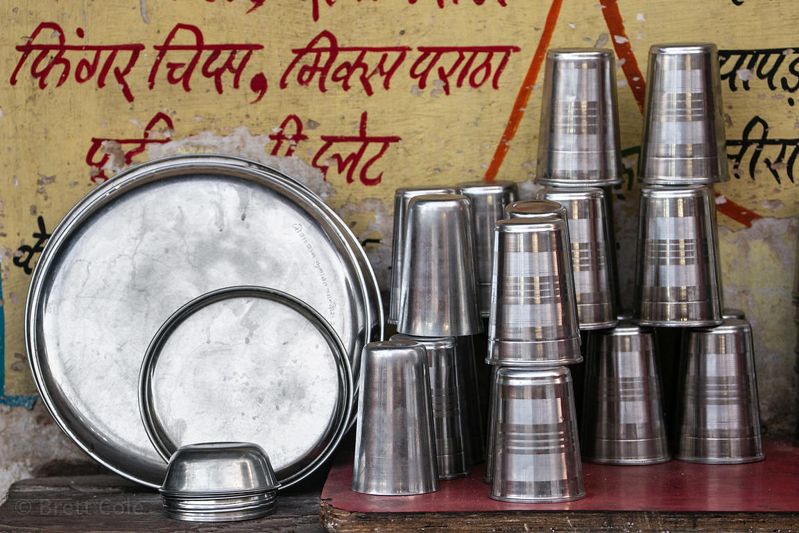 Metal drinking water cups, Pushkar, Rajasthan, India