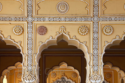 Ornate carved archways in Jaipur City Palace, Rajasthan, India