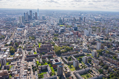 Aerial view of Hoxton looking towards the City of London