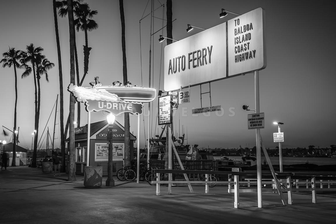 Balboa Island Auto Ferry Sign Black and White Photo