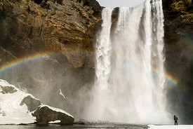 Seljalandsfoss Waterfall on Iceland's south coast.  This waterfall of the river Seljalandsá drops 60 metres (200 ft) over the...