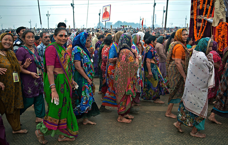 This photograph was taken during a procession at the Kumbh Mela in Allahabad