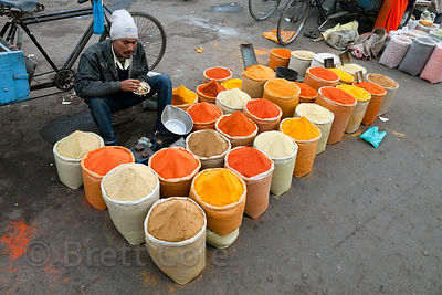 Chilis and turmeric for sale near the Khari Baoli spice market in Old Delhi, India