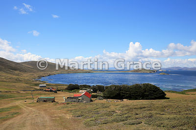 Carcass Settlement and Port Pattison (bay) from the north-west, Carcass Island, Falkland Islands