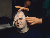 Cosmetic preparation for the victim of a simulated air crash