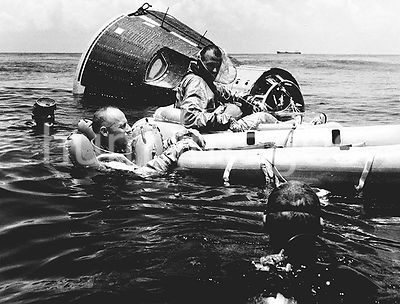 (21 July 1965) --- Prime crew for the Gemini-Titan 5 (GT-5) spaceflight, astronauts Charles Conrad Jr. (in water) and L. Gord...