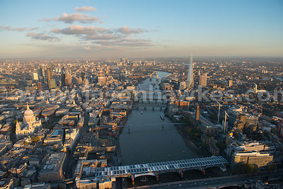 London. Aerial view of Southwark and the City of London