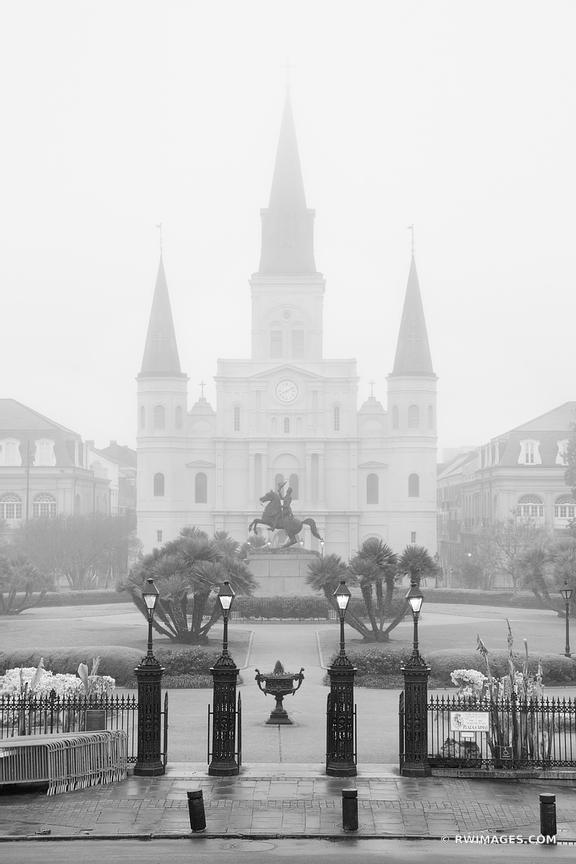 MORNING FOG JACKSON SQUARE NEW ORLEANS LOUISIANA BLACK AND WHITE VERTICAL
