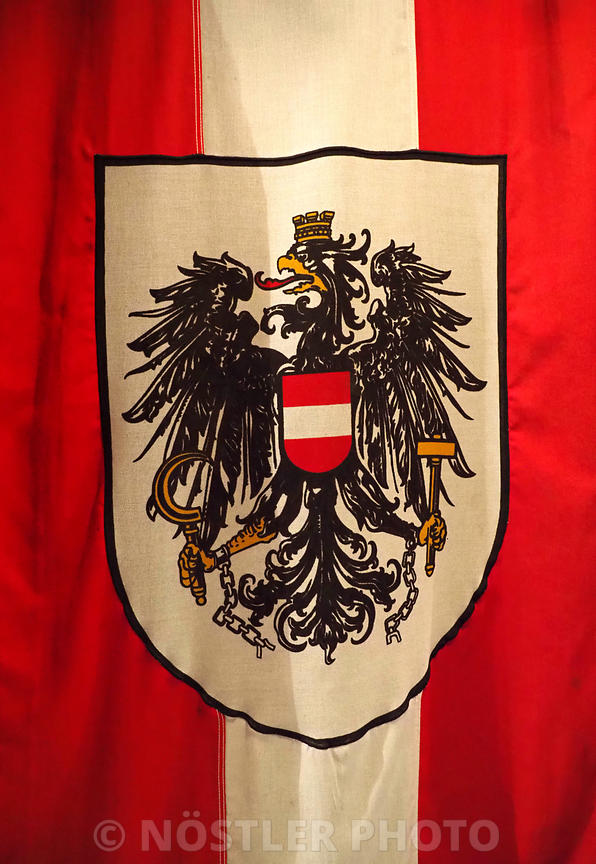 Austrian flag with the Eagle in the Middle