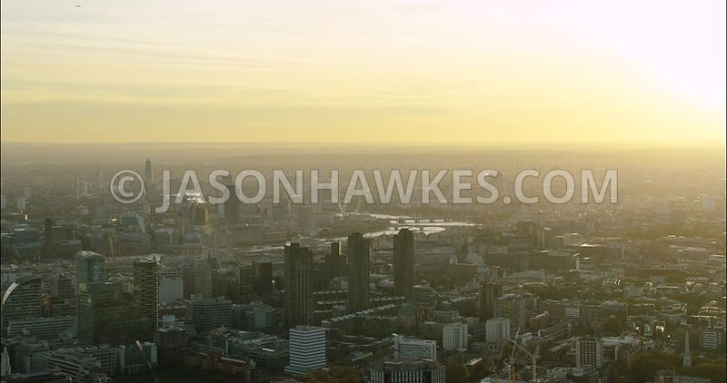 London Aerial Footage of City of London towards Blackfriars.