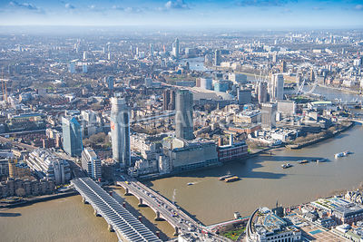 Aerial view of London, One Blackfriars Road and Oxo Tower with Southbank.