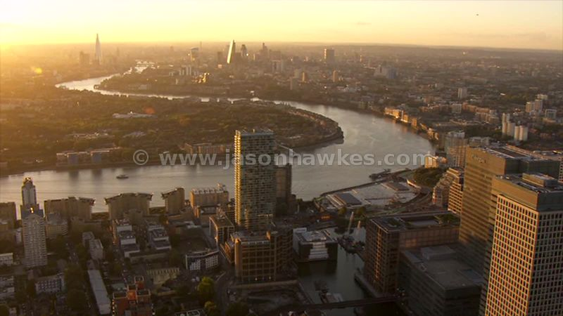 Aerial footage of Millwall and Rotherhithe at sunset, London
