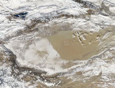 TAKLAMAKAN DESERT -- 02 Jan 2013 -- Snow-covered deserts are rare, but that's exactly what the Moderate Resolution Imaging ...